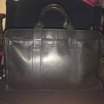 Kenneth Cole Reaction Black Leather Business Case Messenger Bag Briefcase Photo