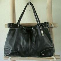 Kenneth Cole Reaction Black Leather Draw String Handles M Hobo / Tote Bag White Photo