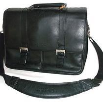 Kenneth Cole Reaction Black Leather Messenger Briefcase Computer Bag Uec Photo