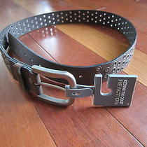 Kenneth Cole Reaction Brown Leather Belt With Silver Buckle Size 32 Photo