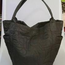 Kenneth Cole Reaction Large Black Quilted Monogram Stitching Hobo Handbag Purse  Photo