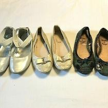 Kenneth Cole Reaction  Link Girls Ballet Flats 1 1.5 2 Gold Silver Plaid Lot Photo