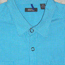 Kenneth Cole Reaction Men's Snap-Front S/s Shirtsize Xxlcotton Aqua Checks Photo