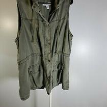 Kenneth Cole Reaction Olive Green Tencel Military Cargo Long Jacket Vest 2x Photo