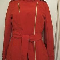 Kenneth Cole Reaction Red Coat Jacketzipper Hoodie Belt Xs Extra Small S Eur 36 Photo