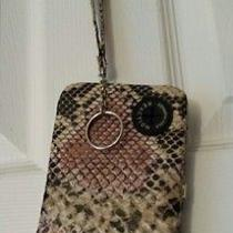 Kenneth Cole Reaction Tan Black Rose Snakeskin Cell Phone Wristlet Photo