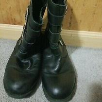 Kenneth Cole Reaction Tri It Out Black Leather Zip Moto Buckle Boots Size 8.5 M Photo