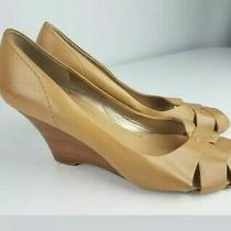 Kenneth Cole Reaction Woman's Open Toe Wedge Heel Shoe Size 8 M Tan Leather Photo