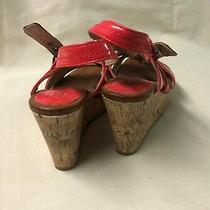 Kenneth Cole Reaction Womens Cork Wedge Sandals Size 6 Med Orange/brown Leather Photo