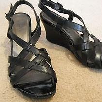 Kenneth Cole Strappy Sandalblack 3 1/2in Wedgegrip Bottomleather/patent Trim Photo