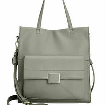Kenneth Cole Techni-Cole Grey Leather Christie Tote Medium Gold Tech-Pocket New Photo