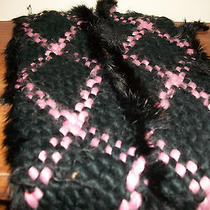 Kenneth Cole Women's Winter Scarf Rabbit & Acrylic in Pink and Black  Photo