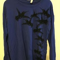 Kensi Blue Long Sleeve Shirt With Felt Birds  Photo
