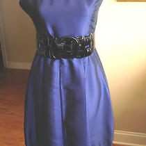 Kensi  Cocktail Dress Size 6 Blue Taffeta Large Belt Sleevelessd105 Photo