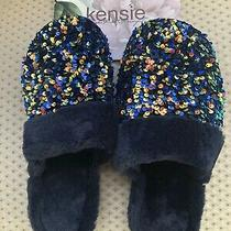 Kensie Adult Women Sequin Faux Fur Slippers Size L 9. Navy Blue. New. Photo