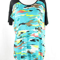 Kensie Aqua Combo Camo Knit Top Size Medium Nwt Photo