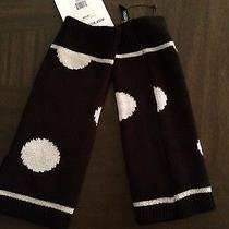 Kensie Black & White Metallic Fingerless Polka Dot Gloves Nwt Photo