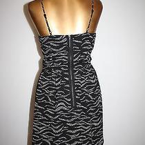 Kensie Black & White Print Lined Spaghetti Strap Exposed Zipper  Dress  Size Xs Photo