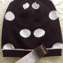 Kensie Black With Big White Polka Dots Women's Beanie Hat One Size Photo