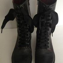 Kensie Boss 8 M Black Distressed Leather Combat Grunge Mid-Calf Boot Ribbon Tie Photo
