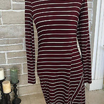Kensie Burgundy White Striped Fitted Dress - Size Xs Photo