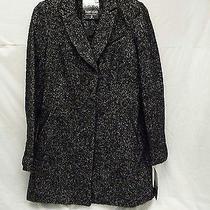 Kensie C9071 Women's Wool-Blend Coat Black/white Medium Free Shipping Photo
