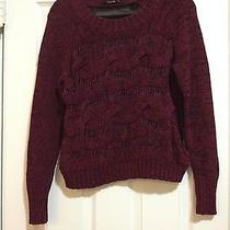 Kensie Cable Knit and Chiffon Sheer Sweater Black Oxblood Small/medium Photo