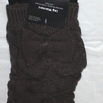 Kensie Charcoal Gray Cable Knit Leg Bow Embellished Warmers Boot Toppers Sz Os  Photo