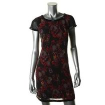 Kensie Dresses New Black Chiffon Printed Knee-Length Wear to Work Dress 4 Bhfo Photo