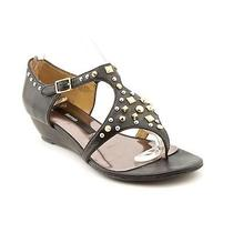 Kensie Eve Womens Size 6.5 Black Leather Wedge Sandals Shoes Photo