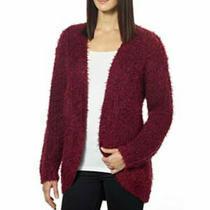 Kensie Eyelash Open Cardigan Sweater Top Size L Fluffy Red Burgundy Euc  B99 Photo