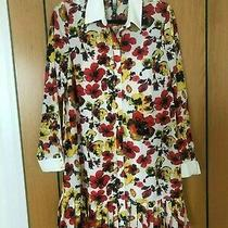 Kensie Floral Summer Shirt Dress White Red Yellow and Black Photo