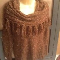 Kensie Fringed Cowl Neck Collar Olive Green/brown Tweed Sweater Women Sz Med Photo