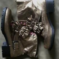 Kensie Girl Ankle Boots Shiny Gold Lace-Ups Womens Size 10 B Photo