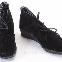 Kensie Girl Black 5 Faux Suede Lace Up Wedge Ankle Bootie Shoe New 52 Hco213 Photo