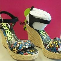 Kensie Girl New Womens Dani Black Floral Wedge Sandals 6 M Shoes Photo