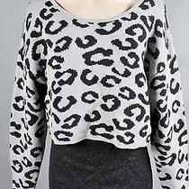 Kensie Gray Black Animal Print Cropped Pullover Sweater Top Junior's L Nwt 88 Photo