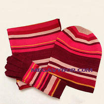Kensie Hat Scarf and Glove Set Shimmery Stripe(3pc) Nwt Photo