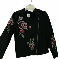 Kensie Jeans Black Floral Embroidered Motorcycle Jacket Women's Size Small Photo