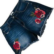 Kensie Jeans Dark Blue Denim Embroidered Cut-Off Shorts Size 8 Waist 29 Inseam 3 Photo