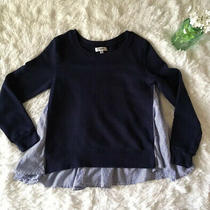 Kensie Jeans Womens Sz Xs Blue Sweater Sweat Shirt Striped Ruffle Hem Soft Cute Photo