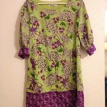 Kensie M Medium Green Purple Floral Dress Photo