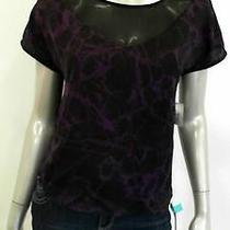 Kensie Misses Womens Cap Sleeve Blouse Top Sz Xs Pattern Purple Black Sale Us Photo