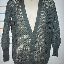 Kensie New Womens Dark Gray Sheer Cardigan Sweater Medium Photo