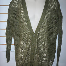 Kensie New Womens Green Sheer Cardigan Sweater Small Photo