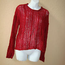 Kensie New Womens Rich Red Cable Sweater Medium Photo