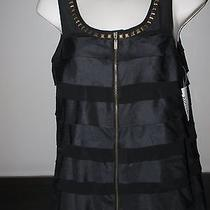 Kensie Nwt Size Small Black Sleeveless Zip Up Top Blouse Shirt W Embellishments Photo