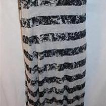 Kensie Pieces Striped Maxi Dress Size M/medium Grey and Black Grunge Photo