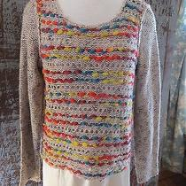Kensie Pieces Sweater Light Brown & Colorful Yarn L Large      Jb Photo