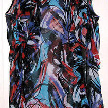 Kensie Pretty Multi-Color Semi-Sheer Silk Sleeveless Tunic Top - Size Large Photo